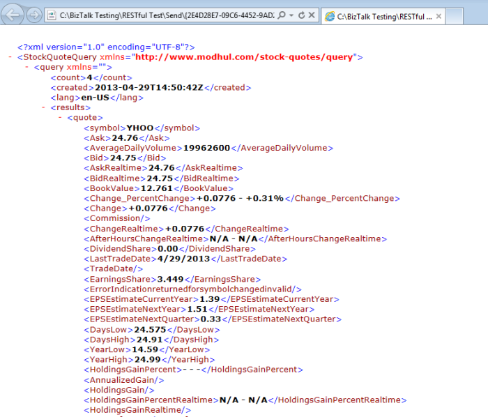 JSON Data as Xml Message to be Consumed by BizTalk
