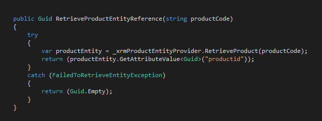 RetrieveProductEntityReference() Method - Pre Cache Implementation